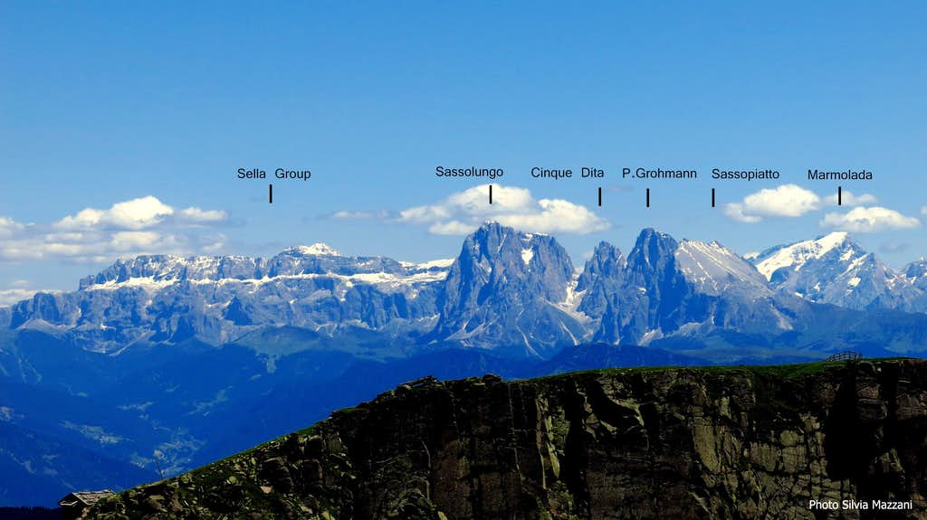 Dolomites labelled pano seen from Sarner Scharte