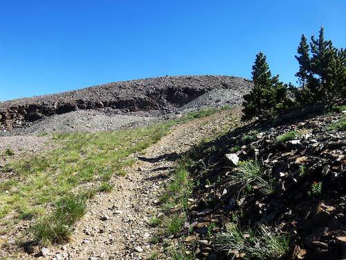 Near the summit rocks