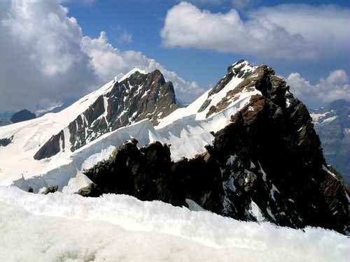 Breithorn chain seen from the summit of Roccia Nera