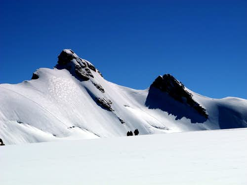 Starting to cross the Verra Glacier from Breithorn Col