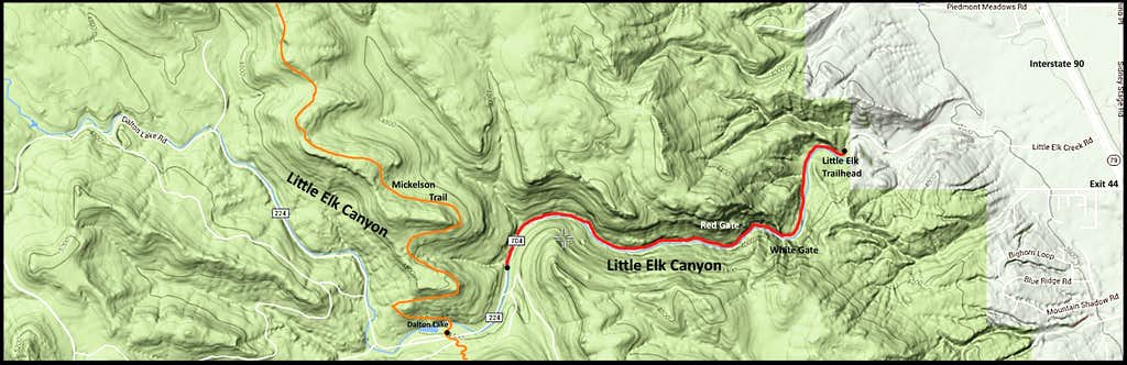 Little Elk Creek Canyon Map