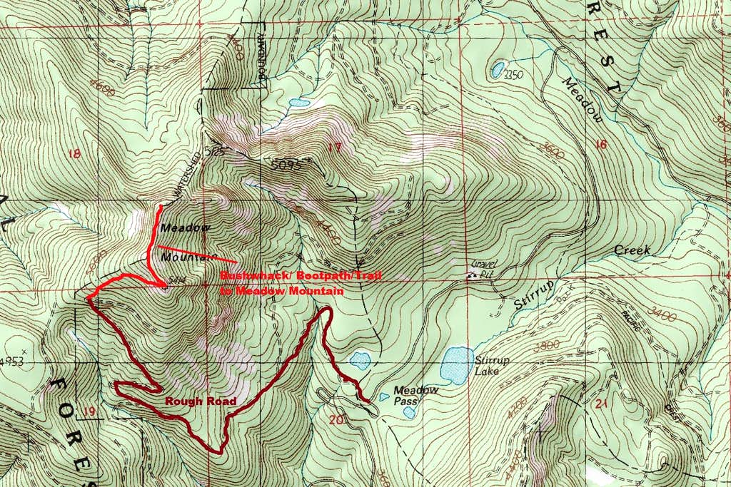 Meadow Mountain Route Map