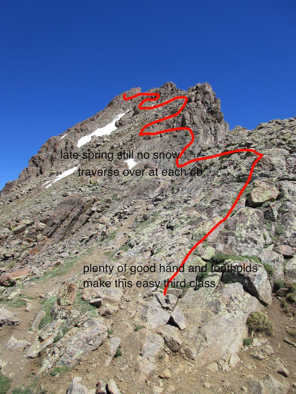 Class 2 Ridge leading to Class 3 arete, the Wetterhorn