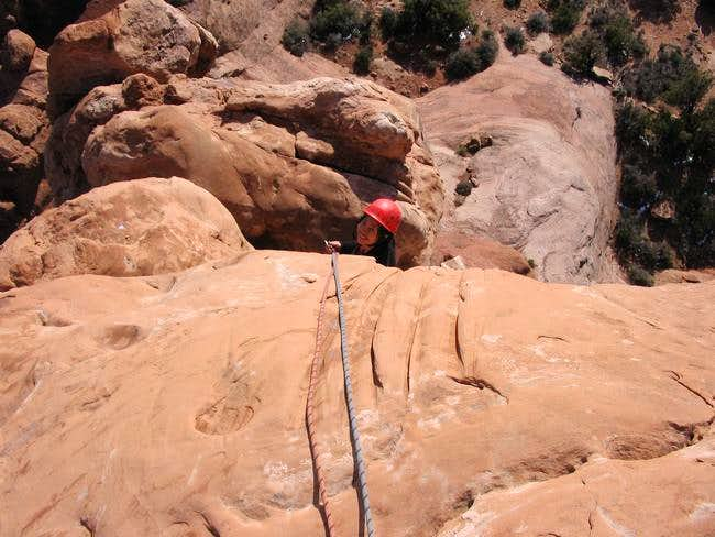 Shirley at the P1 belay of...