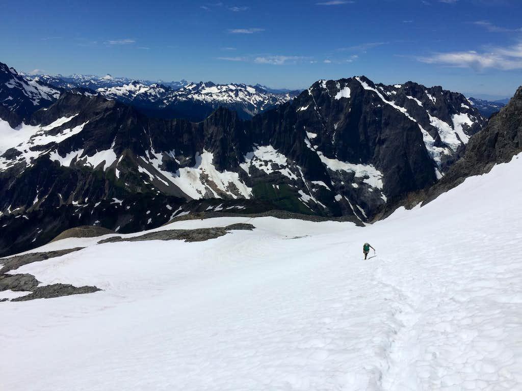 Heading up Sahale Glacier