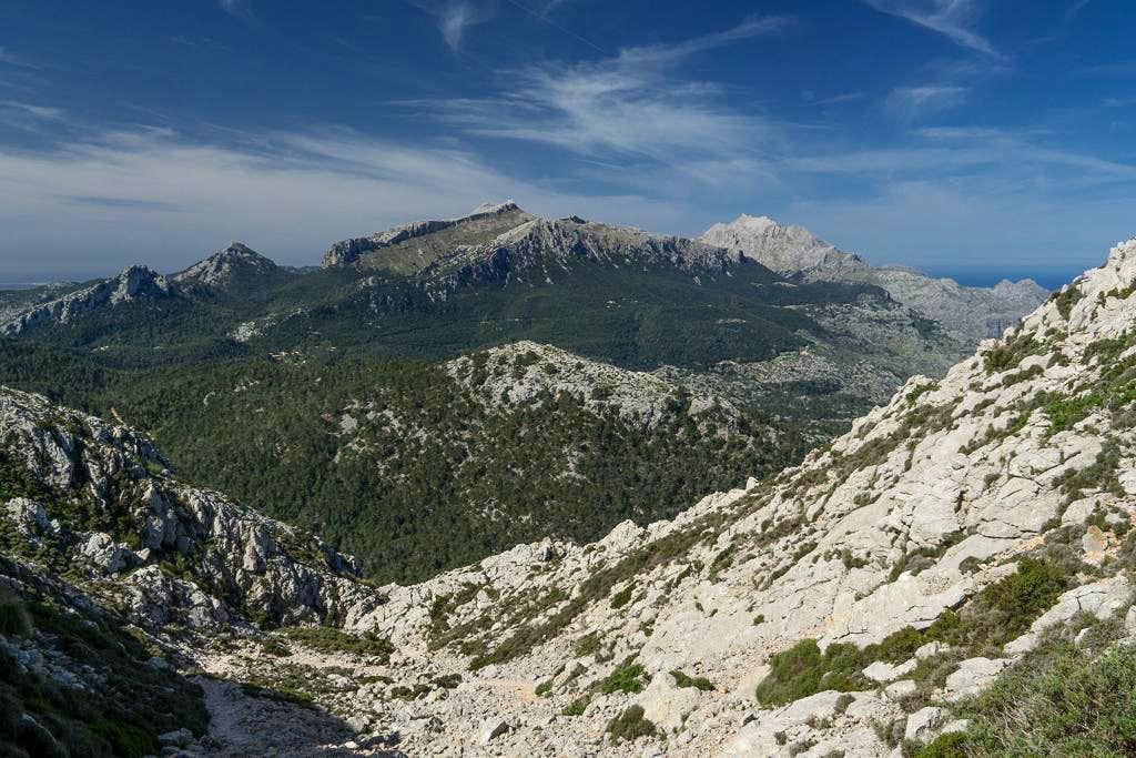 Puig de n'Ali (1035m) Puig de Massanella (1367m) and Puig Major (1447m)