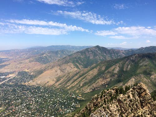 The Northern Wasatch seen from near the top of the West Slab route of Mount Olympus