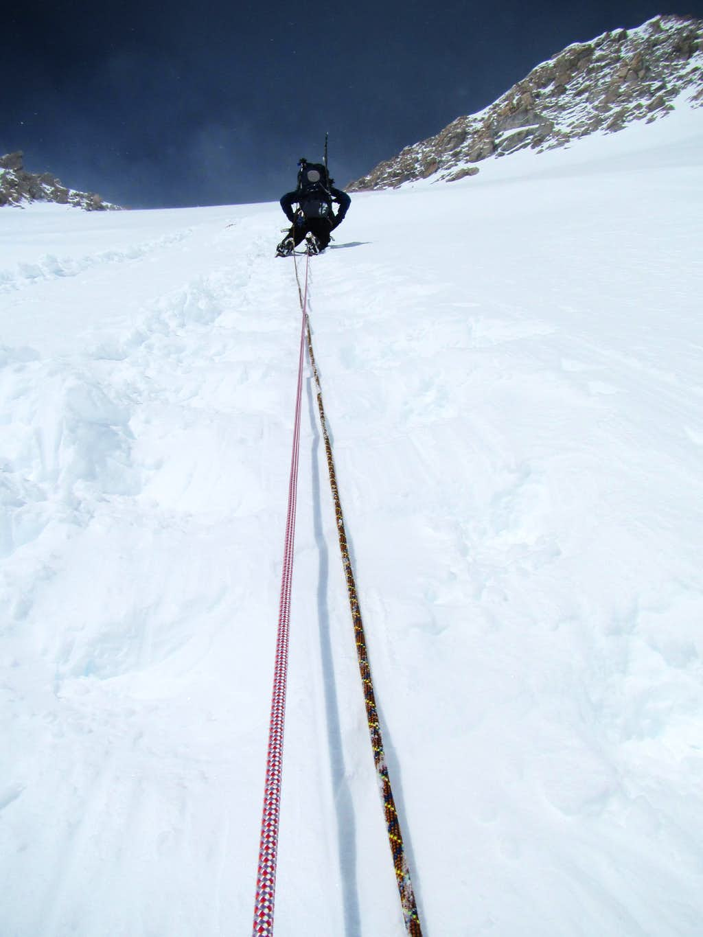 Heading Up the Fixed Lines to the West Buttress