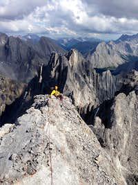 Descending summit ridge