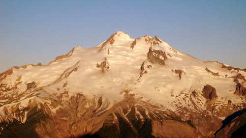First light on Glacier Peak from Helmet Butte