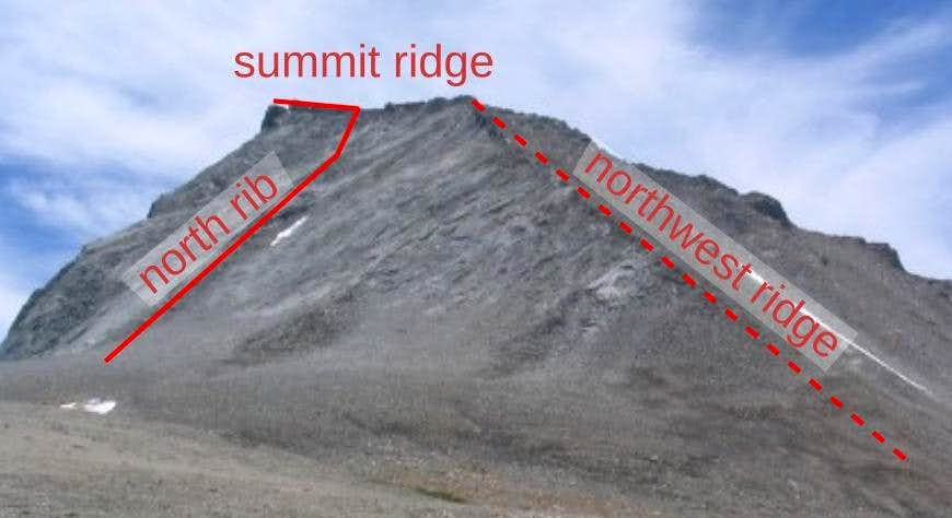 north rib route on Mt. Tyndall, California