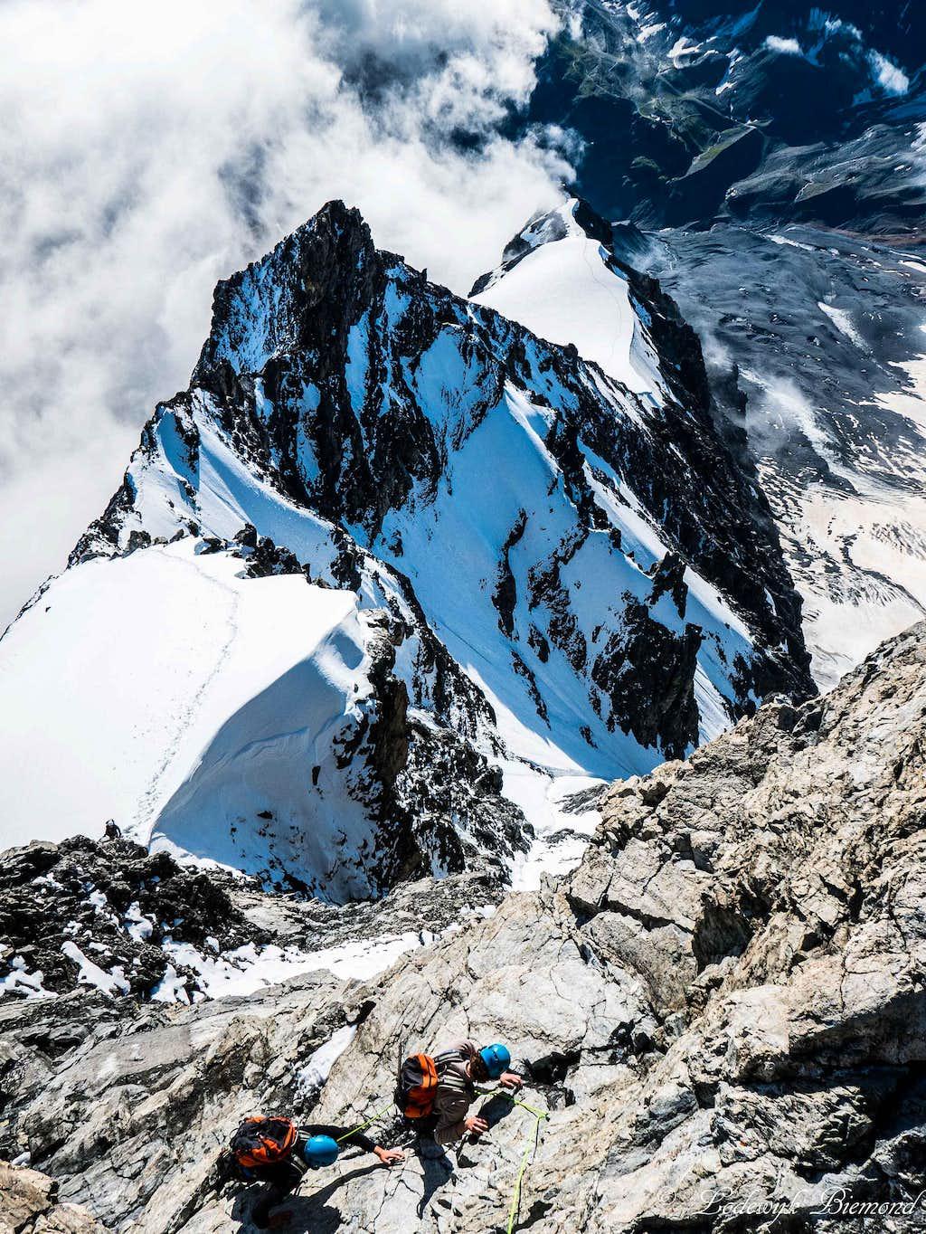 Climbing on the Ortler Hintergrat
