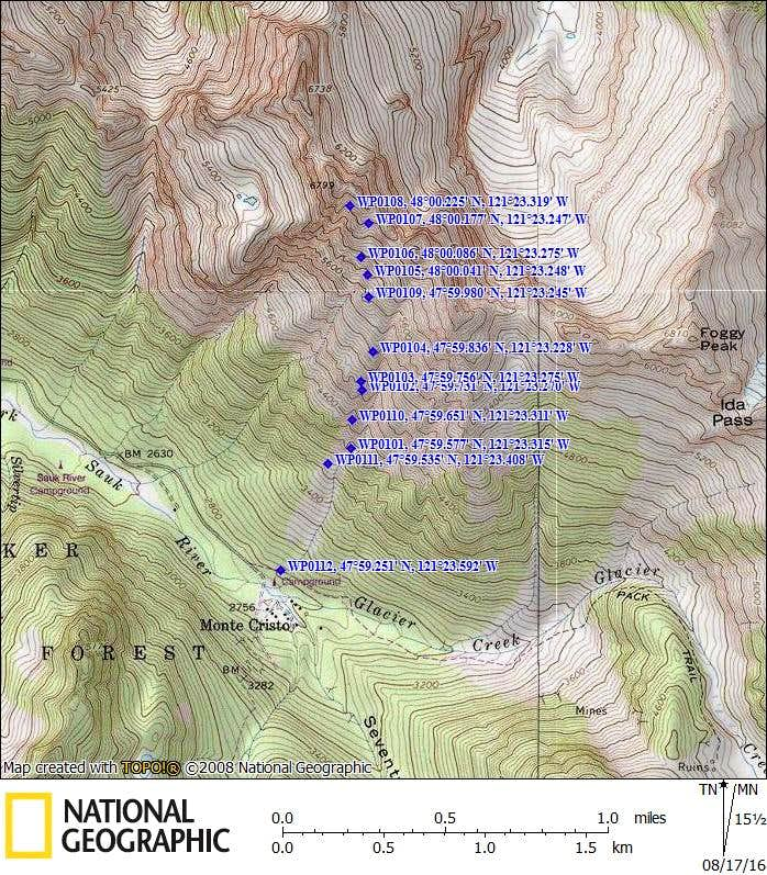 South Gemini Peak/Addison Ridge route map