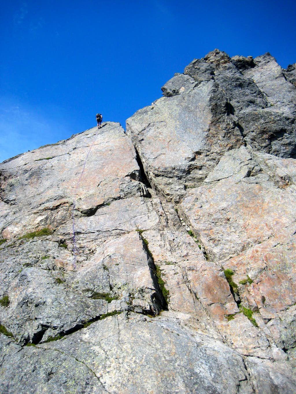 Rappelling the South Gemini Peak summit block