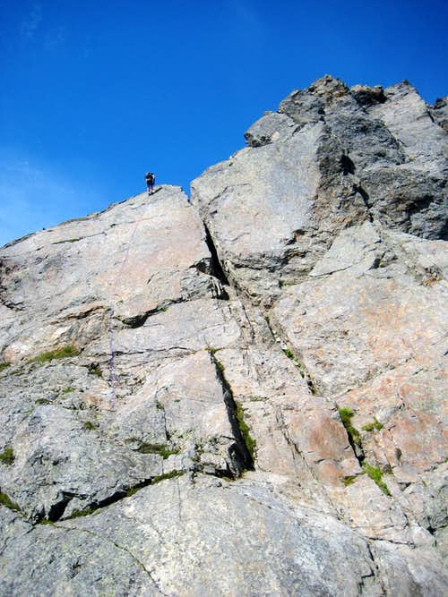 Rappelling the South Gemini Peak summit block
