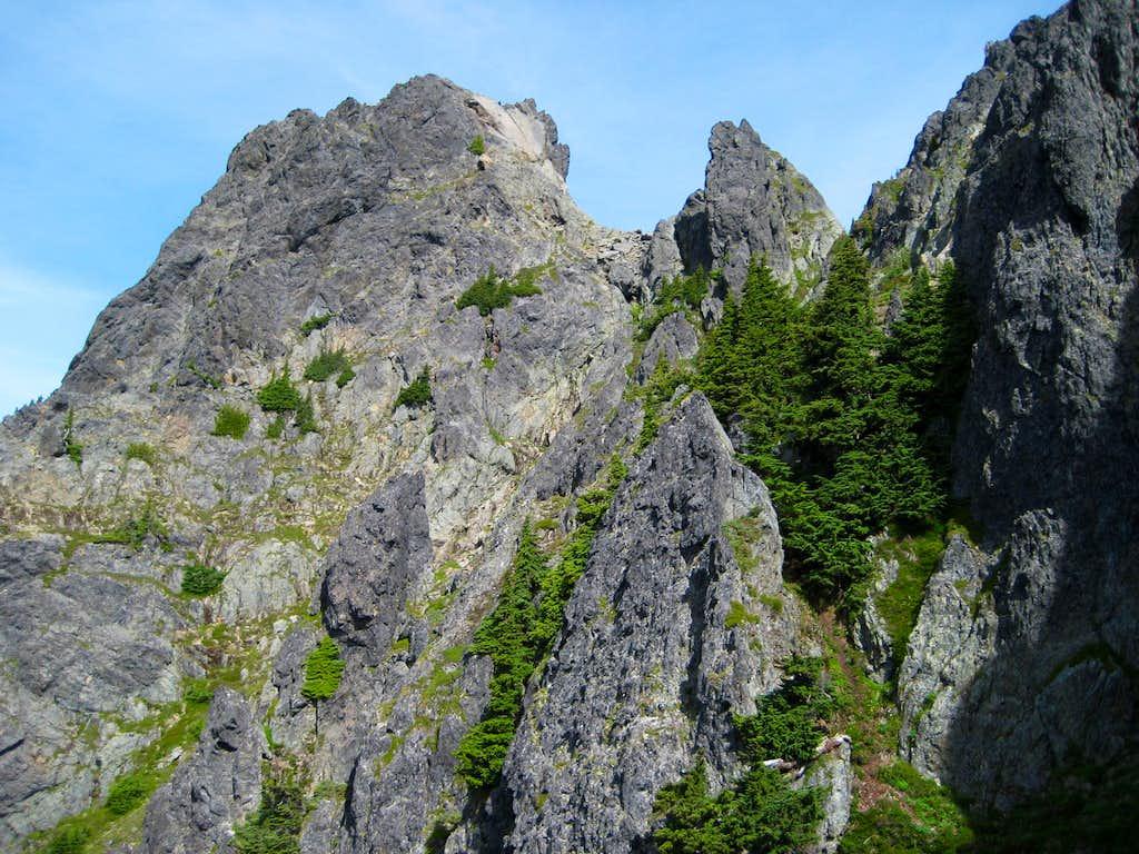 Approaching South Gemini Peak's summit block