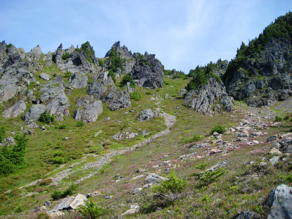 Typical terrain above 6000' on South Gemini Peak approach
