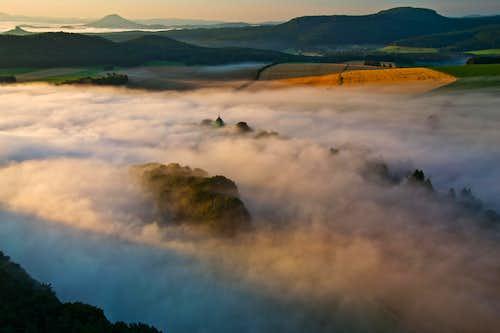 Early morning fog in sunrise light