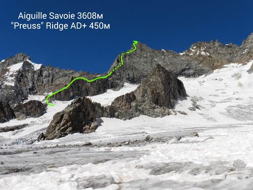 Aiguille Savoie Preuss ridge