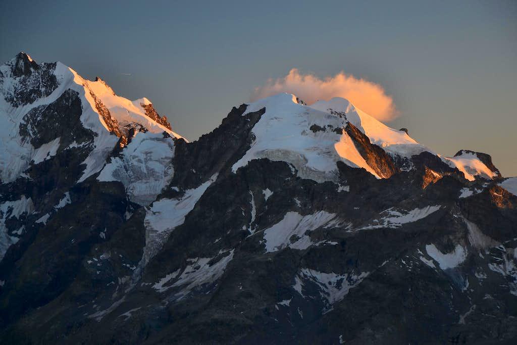 Piz Bernina and Piz Morteratsch in evening light