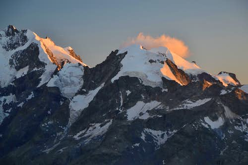 Piz Bernina and Piz Morteratsch in evening light