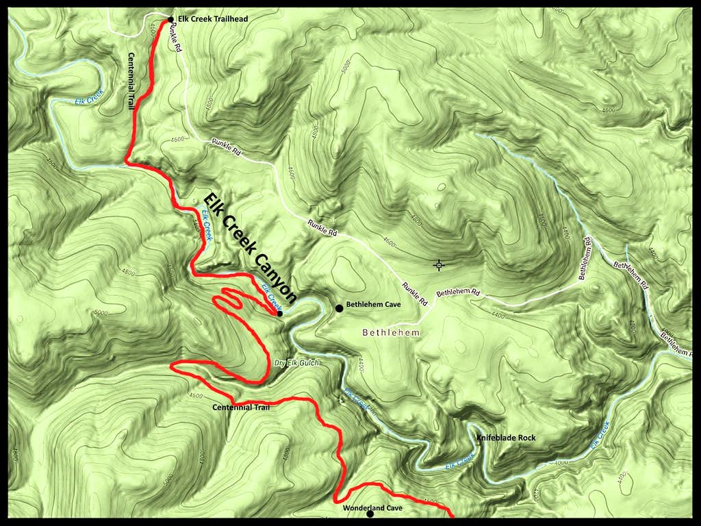Elk Creek Canyon Hiking Route