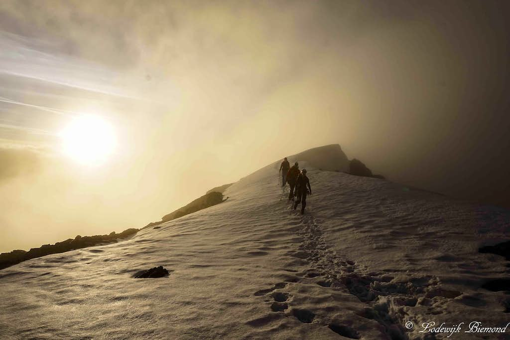 Climbers approaching the 1st snowfield