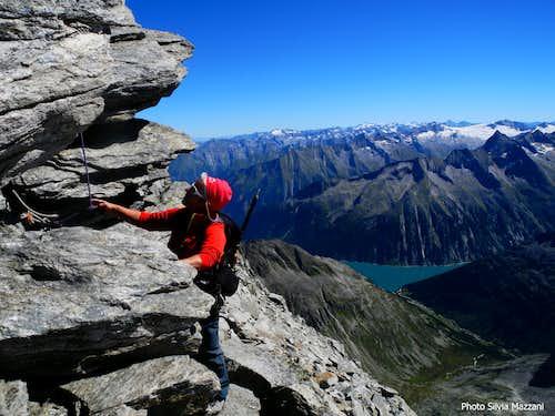 Below the crux - Schrammacher S ridge