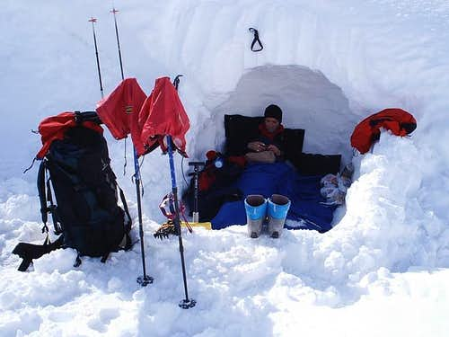 Bivouac hole somewhere in the...