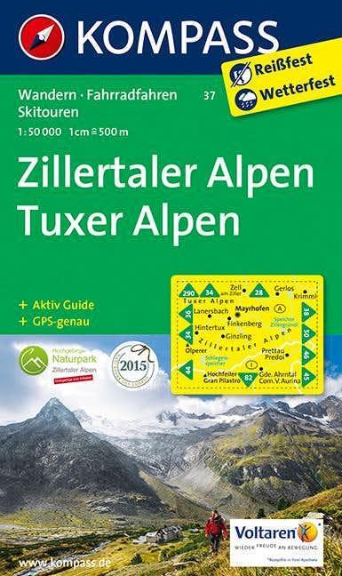 Zillertaler and Tuxer Alps map