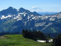 Mount Adams behind Tatoosh Mountains