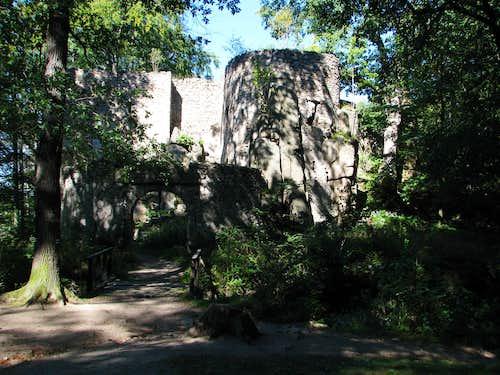 Gateway to Bolczów Castle in summer