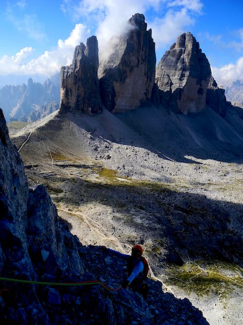 The stunning Tre Cime di Lavaredo seen from Paterno NW ridge