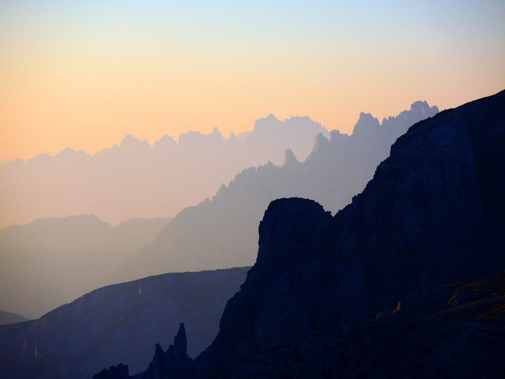Sunrise light over Cadini di Misurina