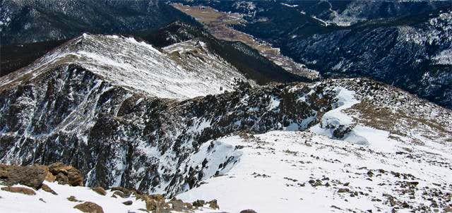 Looking down on the SE ridge...