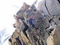 Abseiling on the traverse of...