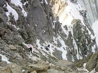 Climbing up the gully mid way...