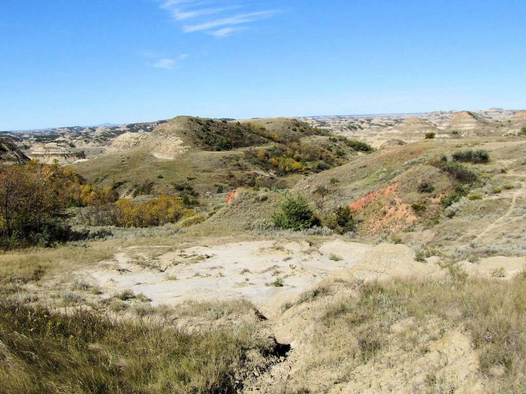 Hiking down into the badlands