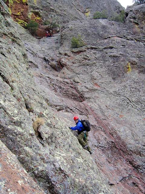 Climbing the crux on the...