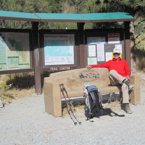 Trail Canyon signboard and relaxation bench