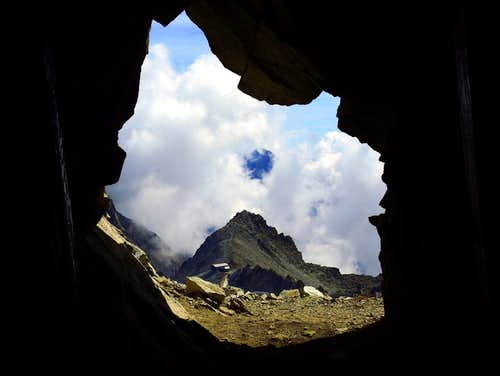 A window inside a WWI cave along Sentiero dei Fiori