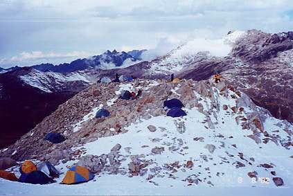 Crowed High Camp At Huayna...