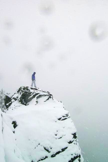 On top of the summit spire of...