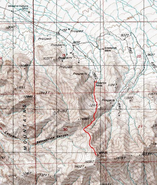 Old Woman Mountain Route Map