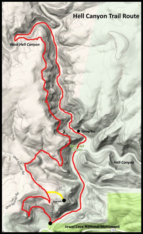 Hell Canyon Trail Route