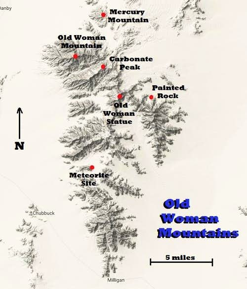 Old Woman Mountains Range Map