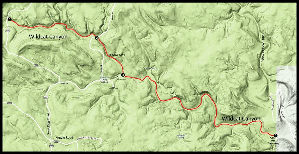 Wildcat Canyon Routes Map