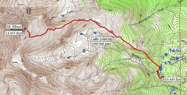 South Mt. Elbert trail route.