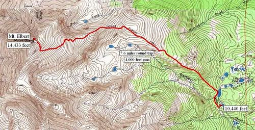 South Mt. Elbert trail route.