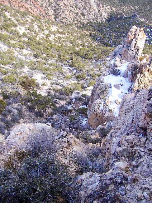 Looking down from the crux...